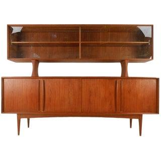 Mid-Century Danish Teak Sideboard With Top Display Shelf For Sale