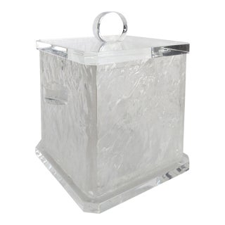 Mid-Century Modern Lucite Ice Bucket W/ Liner & Cover For Sale