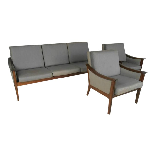 Mid-century Ole Wanscher Style Living Room Suite- Set of 3 For Sale