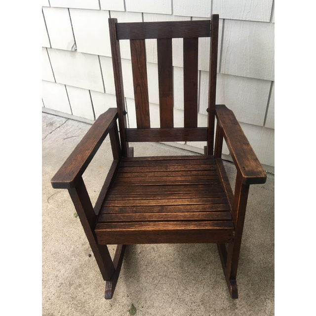 Antique Stickley Style Mission Oak Child's Rocking Chair For Sale - Image 12 of 13