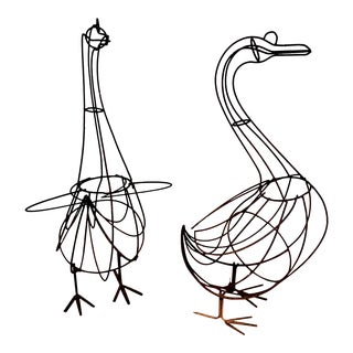 Vintage Wrought Iron Geese Topiary Forms - a Pair For Sale