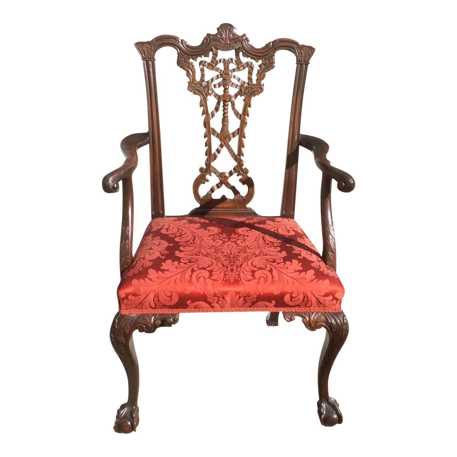 Antique Ribbon Back Chippendale Mahogany Arm Chair Chairish