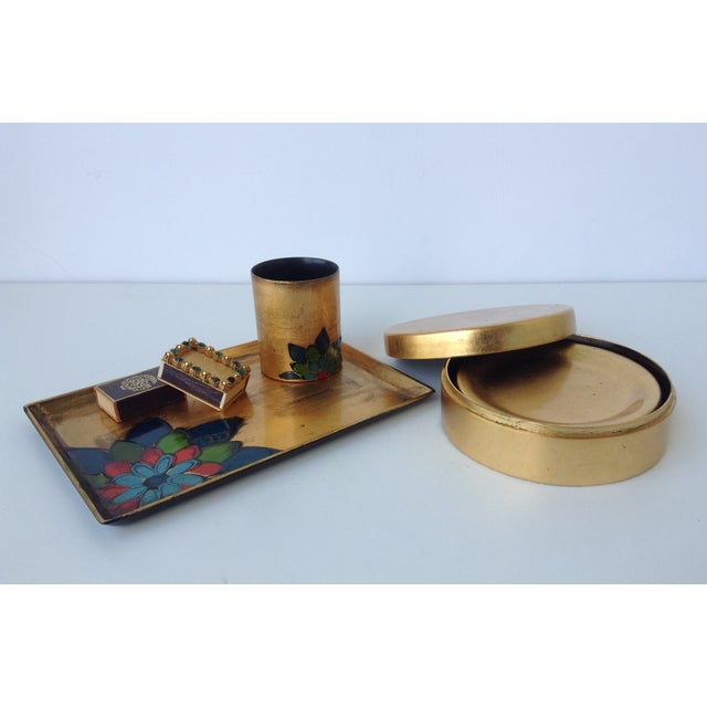 Asian Gold Leaf Lacquered Smoke & Coaster Set For Sale - Image 3 of 11
