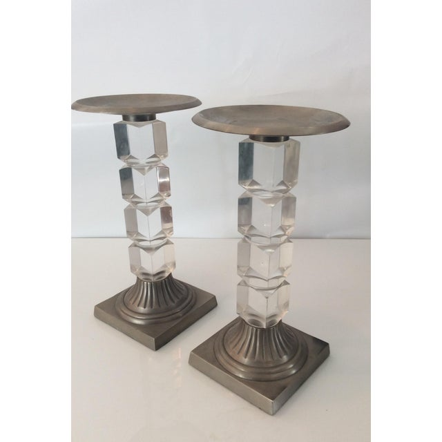 Hollis Jones Style Lucite Candle Holders - Pair - Image 5 of 5