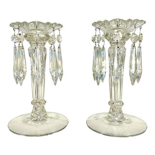 Early 20th Century Crystal Candle Holders With Drop Crystals - a Pair For Sale