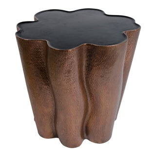 Hand Repousse Copper and Black Lacquer Ji Guan Side Table For Sale
