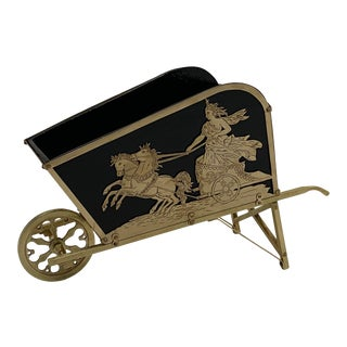 French Brass Neoclassical Style Wheelbarrow Shaped Centerpiece For Sale