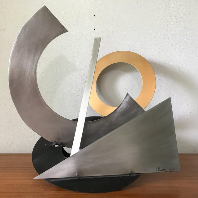 Post Modern Abstract Mixed Metal Sculpture For Sale In Portland, OR - Image 6 of 6