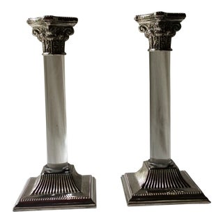 1960s Mid Century Italian Silverplate and Lucite Candlesticks - a Pair