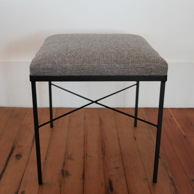 1950s Pair of Iron X-Base Ottomans, 1950s For Sale - Image 5 of 8