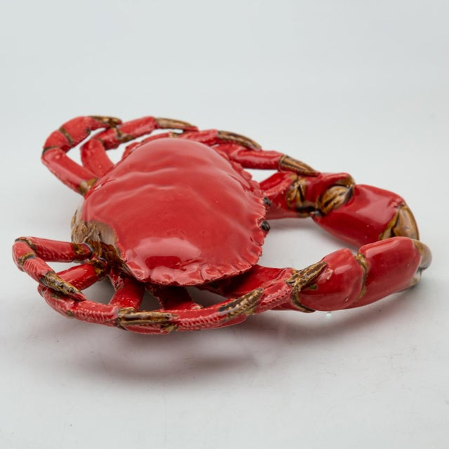 Contemporary Portuguese Handmade Pallissy or Majollica Red Ceramic Crab For Sale - Image 3 of 11