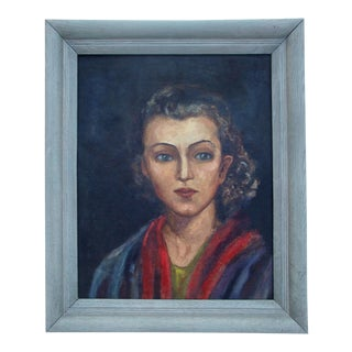 Midcentury Oil Portrait Painting of a Young Woman, 1940s