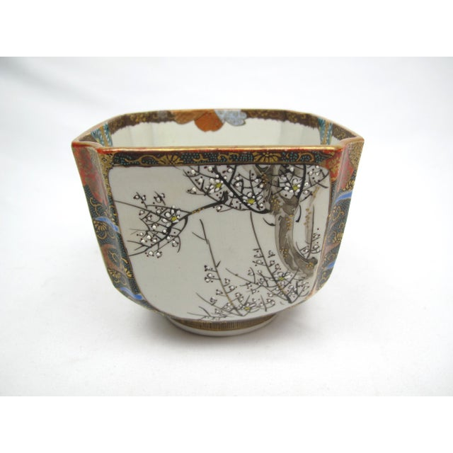 Asian Late 19th Century Antique Japanese Square Bowl with Man Riding Fish For Sale - Image 3 of 9