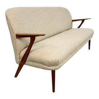 Danish Modern Settee With New Wool Upholstery For Sale