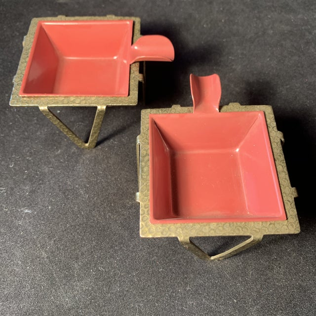 1950s Mid-Century Enamel & Brass Ashtrays - a Pair For Sale - Image 5 of 6