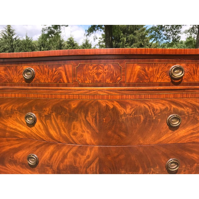 Wood Burled Walnut Bow Front Dresser by John Widdicomb For Sale - Image 7 of 13