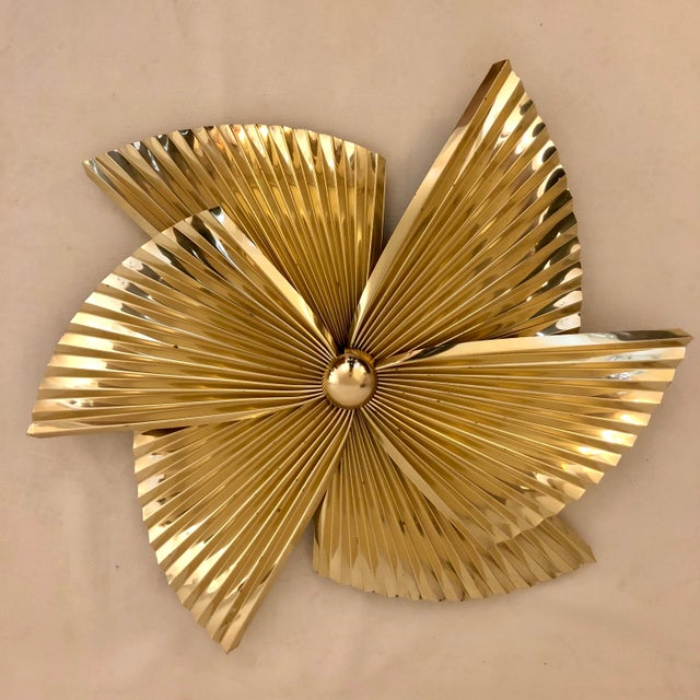 Curtis Jere Brass Pinwheel Wall Sculpture For Sale - Image 9 of 9