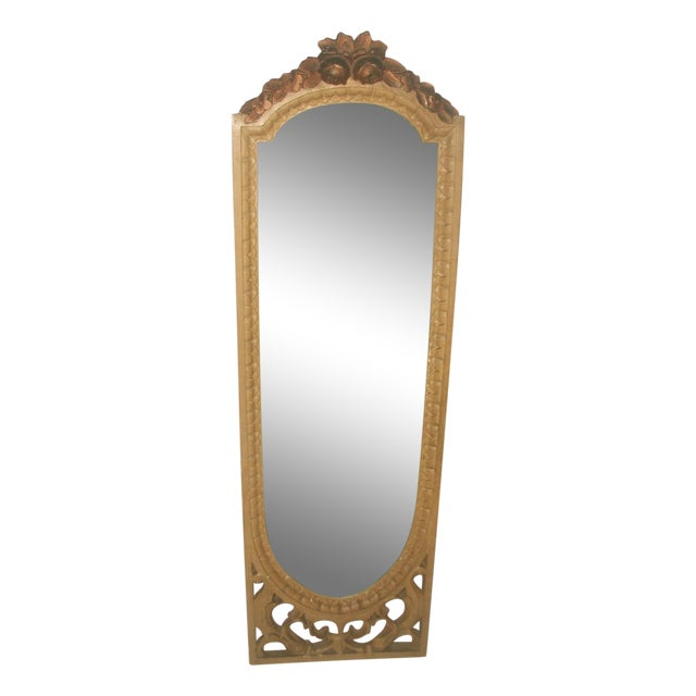 Antique 19th C. Petite Carved Wooden Arched Mirror For Sale