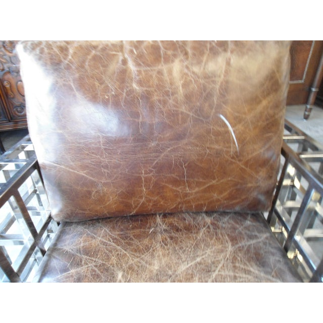 Hd Buttercup Distressed Leather and Chrome Arm Chair - Image 5 of 5