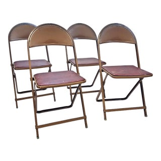 Vintage Rustic Brown Metal Folding Chairs - Set of 4