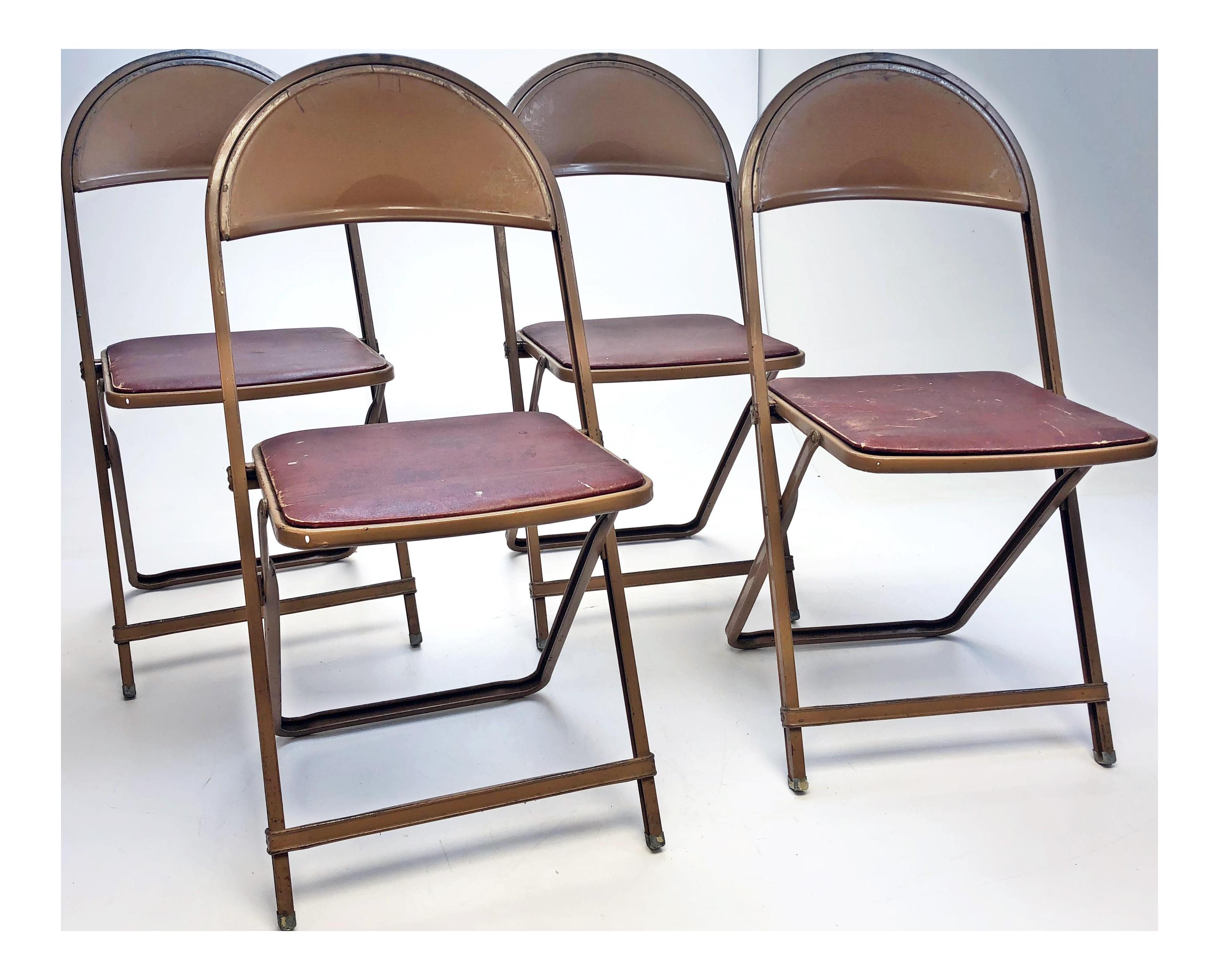 Vintage Rustic Brown Metal Folding Chairs   Set Of 4