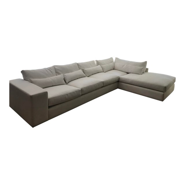 White L-Shaped Sectional Sofa For Sale