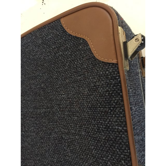 Vintage Blue Tweed Med. Suitcase 25W x 18H x 7.5D maker Via Ventura Faux Brown Leather corners, Casters and pull cord Lock...