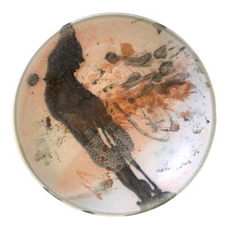 Vintage Mid Century Modern Studio Pottery Abstract Expressionist Signed Ceramic Bowl For Sale