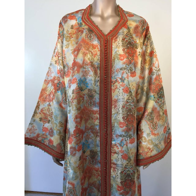 Gorgeous vintage hostess gown, floral multicolored brocade Kaftan, circa 1970s. Exotic oriental floral long maxi caftan...