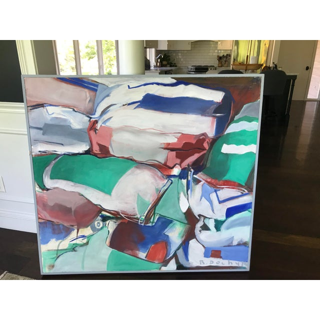 Mid Century Modern Original Abstract Oil Painting on Canvas For Sale - Image 4 of 10