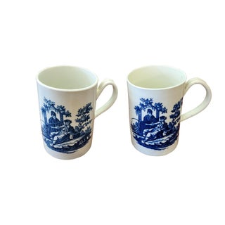 Dr. Wall Worcester Porcelain Tankards Circa 1770 - a Pair For Sale