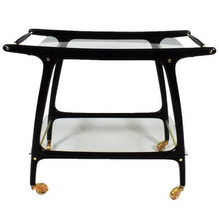1950s Bar Cart, Stained Mahogany, Glass, Brass, Copper, Italy For Sale