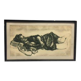 """Late 20th Century """"Woman Sleeping In a Robe"""" Figurative Ink and Charcoal Drawing, Framed For Sale"""