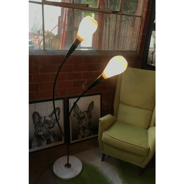 1970s Mid Century Italian Two-Armed Arc Floor Lamp For Sale - Image 10 of 12