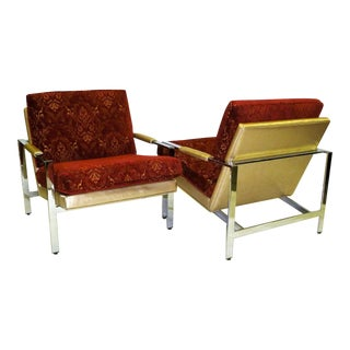 PAIR Milo Baughman Mid Century Modern Iconic Chrome Lounge Chairs for Thayer Coggin .