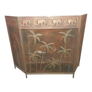 Vintage Palm Tree Fire Screen