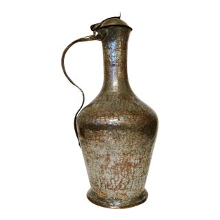 Tall Copper & Silver Lidded Pitcher