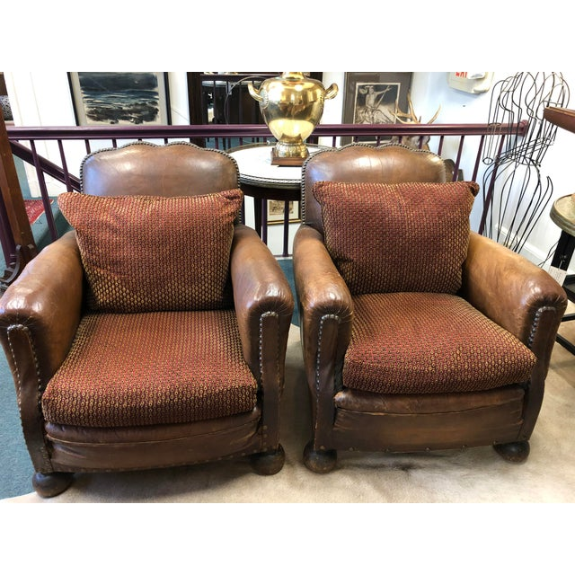 1930's French Leather Chairs For Sale - Image 9 of 9