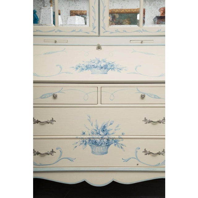 Gustavian (Swedish) Custom Hand-Painted Secretary Desk with Mirrored Doors For Sale - Image 3 of 10