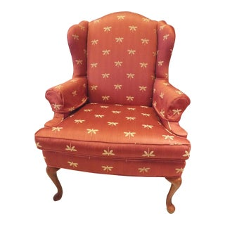Red Silk Upholstered High-Back Chair