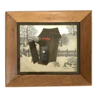 "Vintage ""Anderson"" Farmhouse Scene Mixed Media Art - Framed and Signed For Sale"