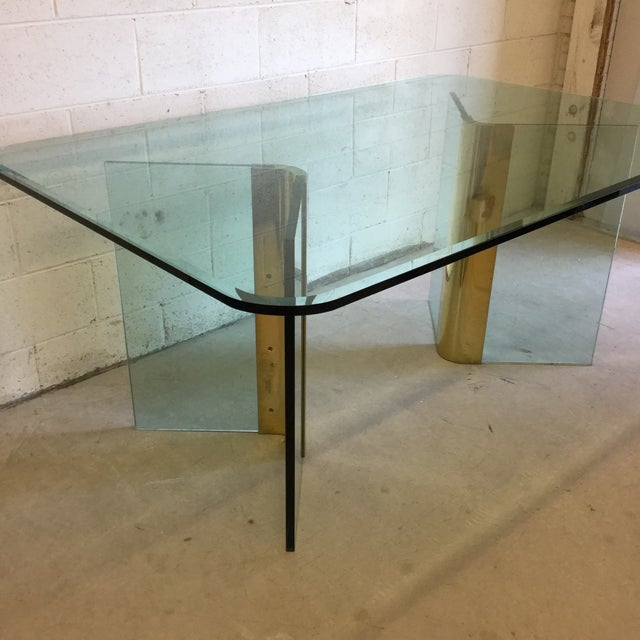 Mid-Century Modern Pace Glass and Brass Dining Table Desk For Sale - Image 3 of 11
