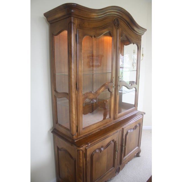 French Ethan Allen Country French China Cabinet and Buffet For Sale - Image 3 of 8