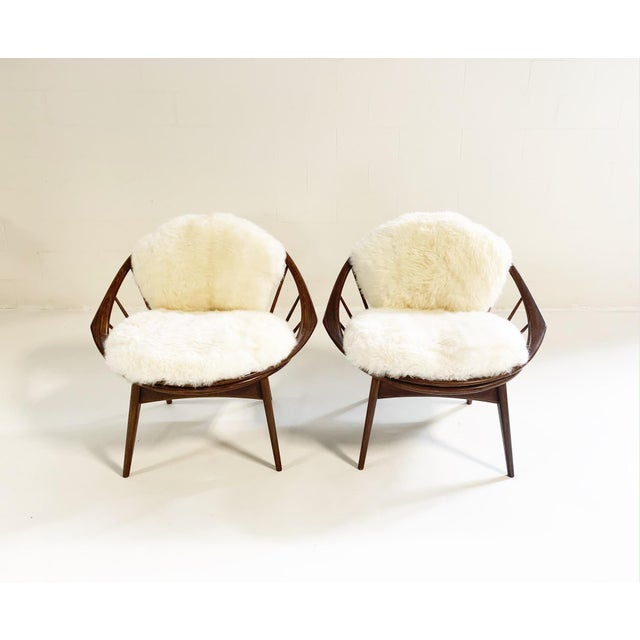Ib Kofod-Larsen Bentwood Lounge Chairs With Brazilian Sheepskin Cushions For Sale In Saint Louis - Image 6 of 7