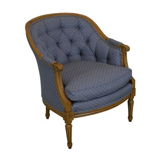 Baker French Louis XVI Style Bergere Club Chair For Sale
