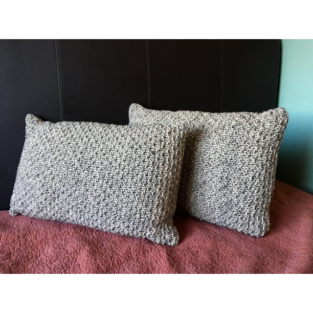 Knotted Wool Pillows, Warm Grey Decor Set/2 - Image 2 of 8