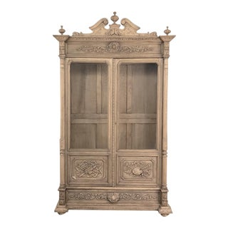 19th Century French Renaissance Stripoped Oak Bookcase For Sale