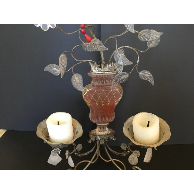 Transparent Pair of Metal, Glass and Rock Crystal 2-Light Candelabra.by Bagues For Sale - Image 8 of 8