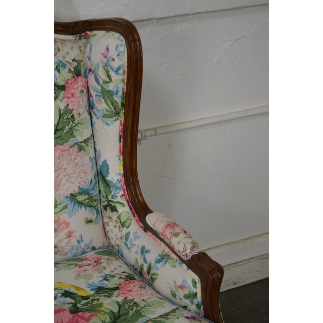 Meyer Gunther Martini Meyer Gunther Martini Custom Floral Upholstered French Louis XV Style Bergere Wing Chair For Sale - Image 4 of 11