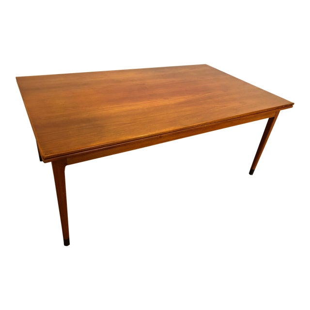 Large Teak Draw Leaf Dining Table by Niels Otto Møller for Jl Møller, Made in Denmark For Sale